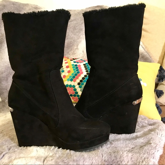 4e5bc507174 Juicy Couture Shoes - Juicy Couture black suede wedge boots 7